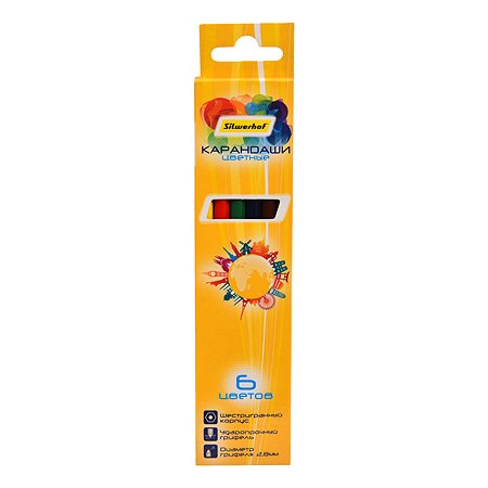 Карандаши цветные Silwerhof Солнечная коллекция 6цветов 1107907