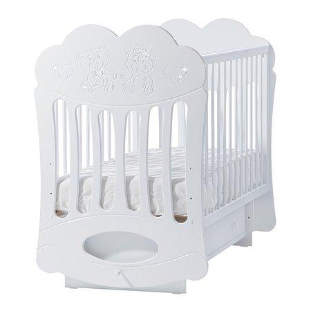 Кроватка ЛЕЛЬ Baby Sleep-1 (облачко) с поперечным качанием. Мишки (со стразами) белая