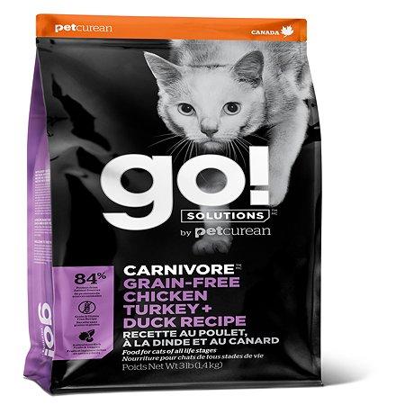 Корм для котят и кошек GO беззерновой курица-индейка-утка-лосось 1.36кг
