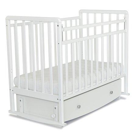 Кровать детская Babyton с маятником и ящиком Белая