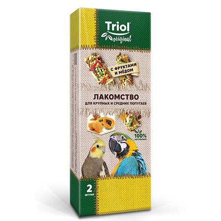 Лакомство для попугаев Triol Original крупных и средних с фруктами и мёдом 2шт 55г