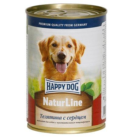 Корм для собак Happy Dog Natur Line телятина-сердце консервированный 400г