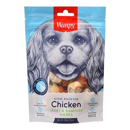 Лакомство для собак Wanpy Кости из сыромятной кожи с куриным мясом 100г