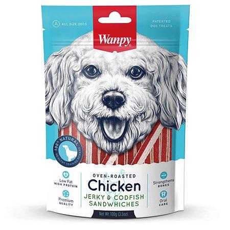 Лакомство для собак Wanpy Сэндвич курица с треской 100г