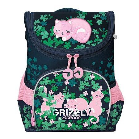Рюкзак школьный Grizzly Розовые коты Темно-синий RAn-082-4/1