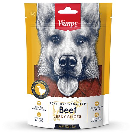 Лакомство для собак Wanpy Соломка из вяленой говядины 100г