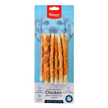 Лакомство для собак Wanpy Трубочки из сыромятной кожи с куриным мясом 85г
