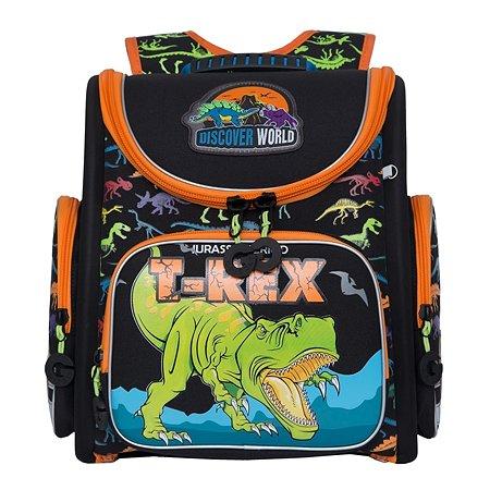 Рюкзак школьный Grizzly Тирекс Черный-Оранжевый RAr-081-2/1