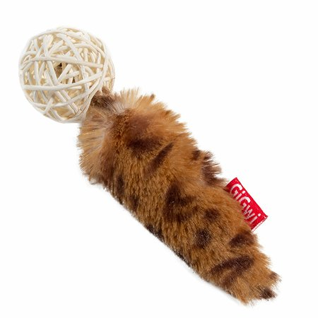 Игрушка для кошек GiGwi Мяч плетеный с колокольчиком и хвостом с кошачей мятой 75439