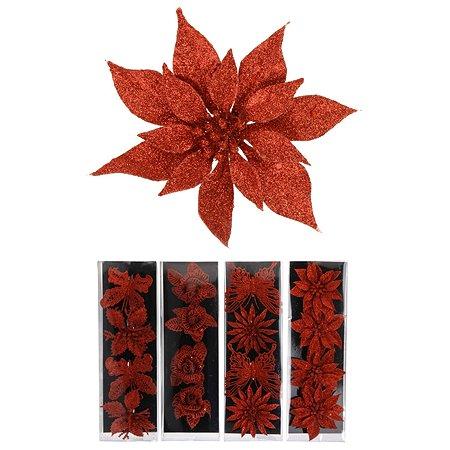 Елочное украшение KOOPMAN Цветок/Бабочка на клипсе 4 шт Красный в ассортименте