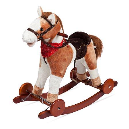 Лошадка-качалка Baby Go с колесами озвученная 46 см