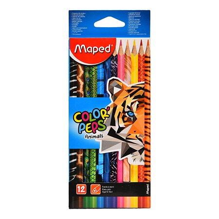 Карандаши цветные MAPED Color Peps Animals 12цветов 832212