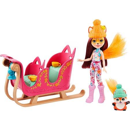 Набор игровой Enchantimals Рождественские сани кукла+питомец GJX31