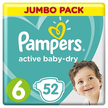 Подгузники Pampers Active Baby-Dry 6 13-18кг 52шт