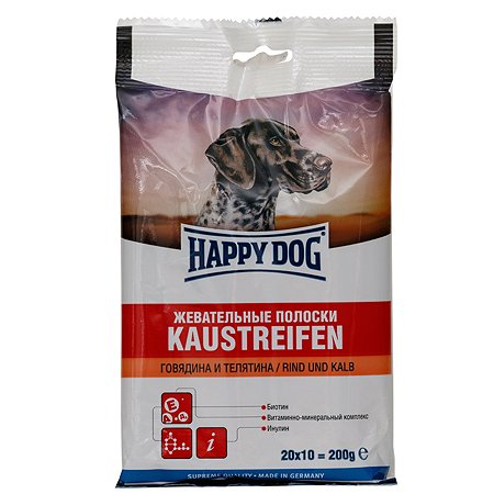 Лакомство для собак Happy Dog Полоски говядина-телятина 200г