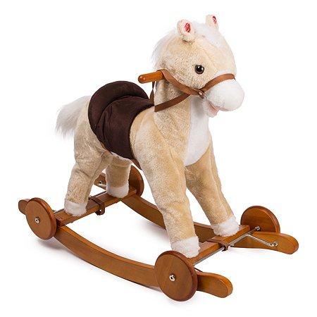 Лошадка-качалка Baby Go белая с колесами 40 см