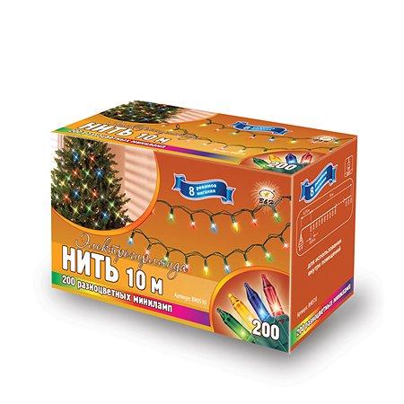 Электрогирлянда B&H Нить 10 м 200 разноцвет. минилампочек для помещений