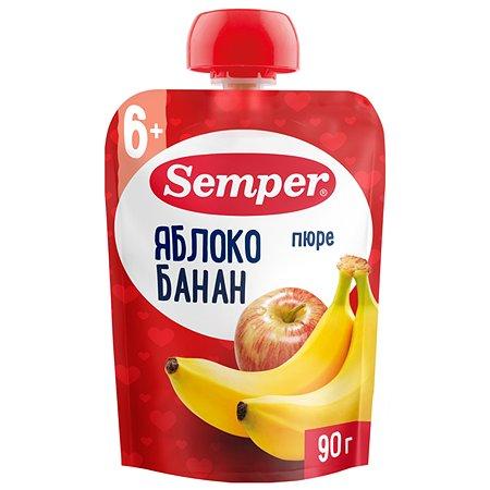 Пюре Semper яблоко-банан пауч 90г с 6месяцев