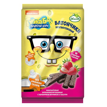 Батончики Sponge Bob амарантовые с клубничной начинкой глазированные 110г
