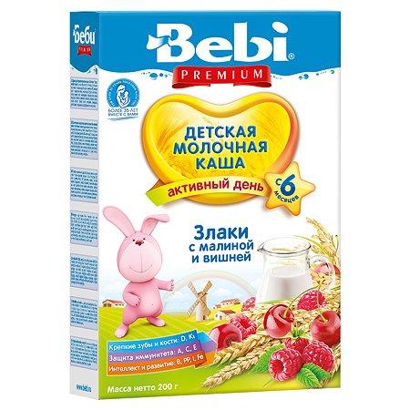 Каша Колинска Bebi Premium молочная злаки-малина-вишня 200г с 6месяцев