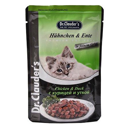 Корм влажный для кошек Dr.Clauders 100г с курицей и уткой желе пауч