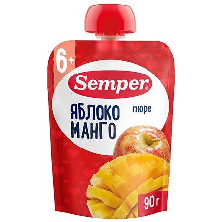 Пюре Semper яблоко-манго пауч 90г с 6месяцев