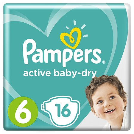 Подгузники Pampers Active Baby-Dry 6 13-18кг 16шт