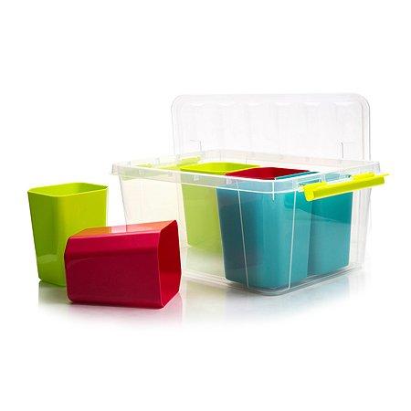 Ящик для игрушек Полимербыт Профи Кидс с цветными вкладками 15л 4350803