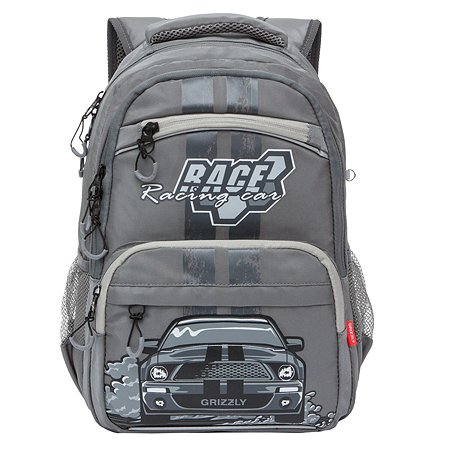 Рюкзак школьный Grizzly Машина Серый RB-054-1/2