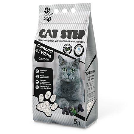 Наполнитель для кошачьего туалета Cat Step Compact White Carbon комкующийся минеральный 5л