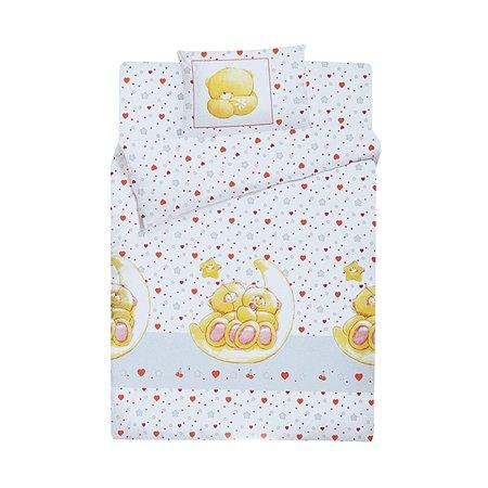 Комплект постельного белья Облачко Влюбленный медвежонок ясли 3 предмета