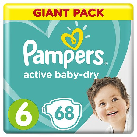 Подгузники Pampers Active Baby-Dry 6 13-18кг 68шт