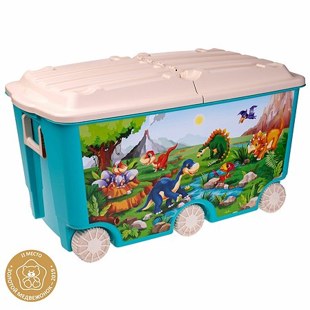 Ящик Пластишка 6колес с декором Голубой 431385102