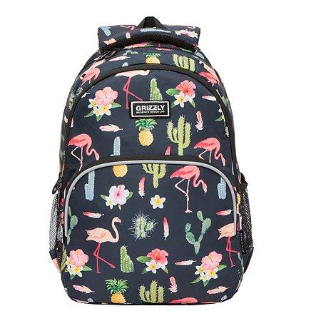 Рюкзак школьный Grizzly Фламинго Черный RG-060-4/1