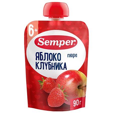 Пюре Semper яблоко-клубника пауч 90г с 6месяцев