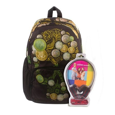 Рюкзак с наушниками 3D-Bags Роджер-Монеты (черный)