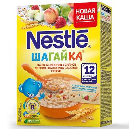 Каша Nestle молочная 5 злаков яблоко-земляника-персик 200г с 12 меcяцев