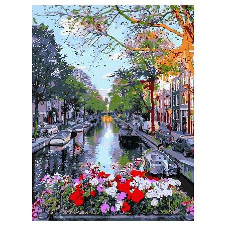 Холст для рисования по номерам Рыжий кот Красивый голландский канал Х-7594