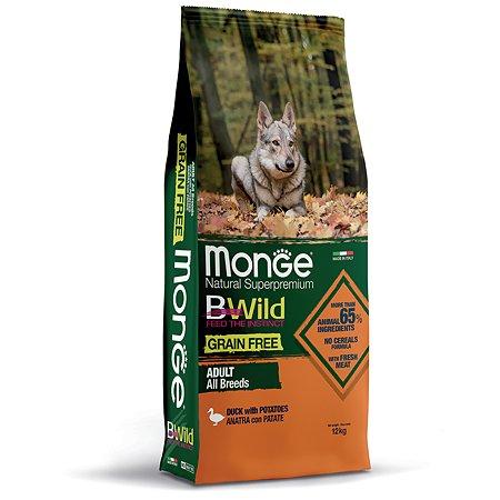 Корм для собак MONGE Dog беззерновой для всех пород утка с картофелем сухой 12кг