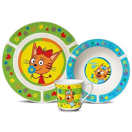 Набор посуды PRIORITY Три кота 3предмета Зеленый КРС-823