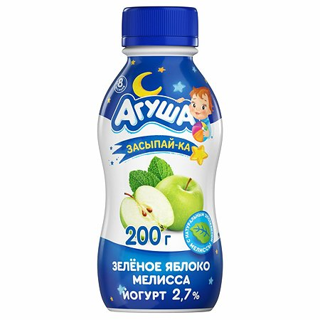 Йогурт питьевой Агуша Засыпайка яблоко зеленое-мелисса 2.7% 200г с 8месяцев