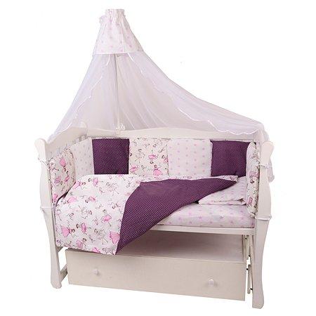 Комплект постельного белья AMARO BABY Принцесса 7предметов Вишневый-Белый