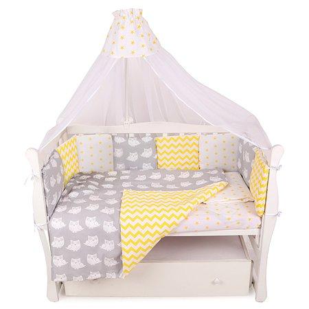 Комплект постельного белья AMARO BABY Птички 7предметов Желтый-Серый