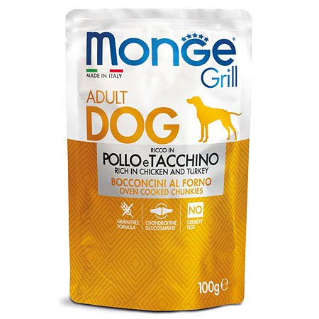 Корм для собак MONGE Dog Grill Pouch курица с индейкой пауч 100г