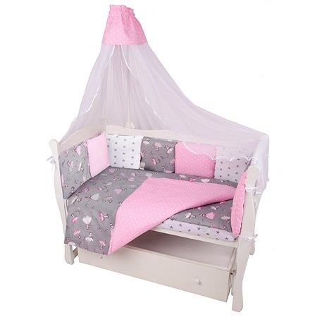 Комплект постельного белья AMARO BABY Балет 8предметов Серый-Розовый