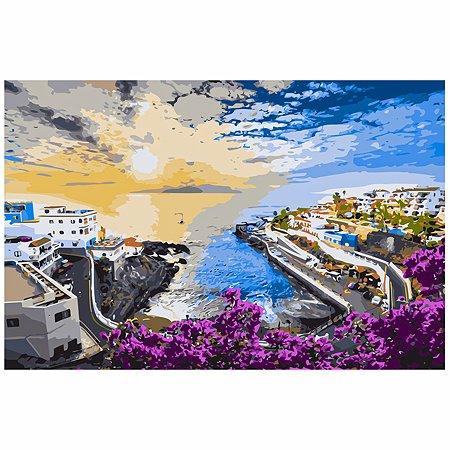 Холст для рисования по номерам Рыжий кот Город у моря на рассвете Х-6469