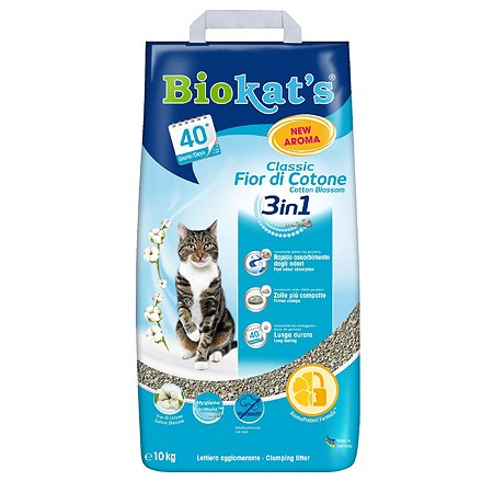 Наполнитель для кошек Biokats Классик 3в1 с ароматом хлопка 10кг