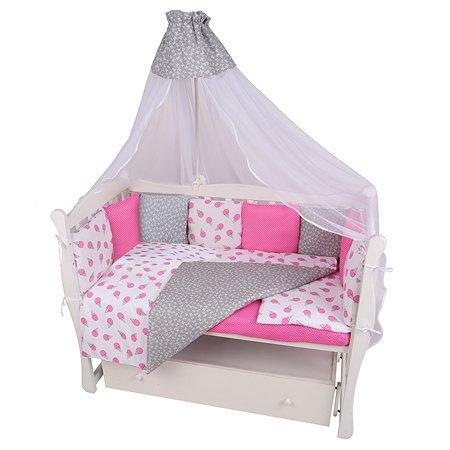 Комплект постельного белья AMARO BABY Сладость 8предметов Малиновый-Белый