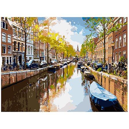 Холст для рисования по номерам Рыжий кот Канал в Амстердаме на рассвете Х-6476