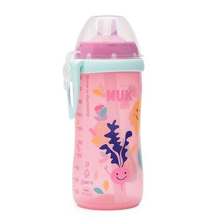 Бутылочка-поильник Nuk First с трубочкой Розовая